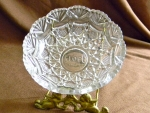 Cut Glass Type Items: Bowl, embossed Globe Stamp