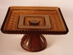Golden Agate Holly Square Plate on Pedestal