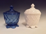Cobalt Pickle Dish and Milk Glass Sugar