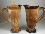 Chocolate and Red Agate Tankard Creamers