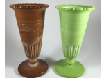 Chocolate and Nile Green Scalloped Flange Vases